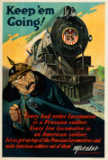 "Movie Posters:War, World War I Propaganda (U.S. Railroad Administration, 1918). Poster(20"" X 30"") ""Keep 'Em Going!"". ..."