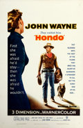 """Movie Posters:Western, Hondo (Warner Brothers, 1953). One Sheet (27"""" X 41"""") 3-D Style.. ..."""