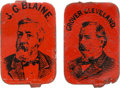 Political:Ferrotypes / Photo Badges (pre-1896), Grover Cleveland and James G. Blaine: Lithographed Tin Tobacco Tags.... (Total: 2 Items)