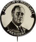 Political:Pinback Buttons (1896-present), Franklin D. Roosevelt: Large and Graphic Real Photo Button....