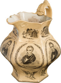 William Henry Harrison: Massive 1840 Campaign Pitcher, Widely regarded as One of the Premier 19th Century Ceramic Politi...