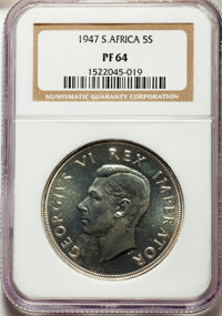 South Africa: George VI Proof 5 Shillings 1947 PR64 NGC