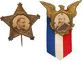 Political:Ferrotypes / Photo Badges (pre-1896), Benjamin Harrison and Grover Cleveland: Pair of Cardboard Badges. ... (Total: 2 Items)