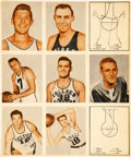 Basketball Cards:Singles (Pre-1970), 1948 Bowman Basketball Uncut Printers Production Panel With NineCards. ...