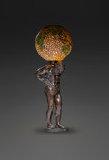 Art Glass:Other , Very Large and Rare Handel Bronzed and Leaded Glass AtlasLamp. Circa 1915. Base and shade stamped HANDEL. H...