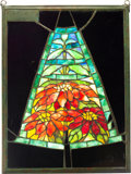 "Art Glass:Tiffany , Tiffany Studios Leaded Glass Salesman Sample PoinsettiaPanel. Circa 1905. Stamped 22"" POINSETTIA. Ht. 16-5/...(Total: 2 Items)"
