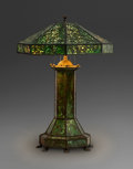 Art Glass:Other , Large Riviere Studios Glass and Bronze Grapevine Table Lamp.Circa 1910. Ht. 33-1/2 x Wd. 22-1/2 in. . ... (Total: 2 Items)