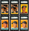 Baseball Cards:Lots, 1958 Topps Baseball HoFers SGC Graded Collection (6) - Includes Three Mickey Mantle #150's....
