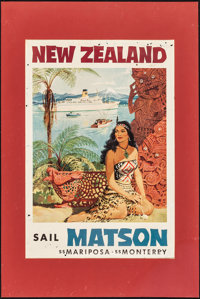 "New Zealand Travel Poster (1960). Poster (19.5"" X 28"", Matted: 24"" X 36""). Miscellaneous"