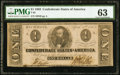 Confederate Notes:1863 Issues, T62 $1 1863 PF-10 Cr. 478 PMG Choice Uncirculated 63.. ...