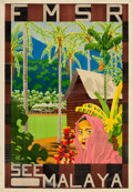 "Movie Posters:Miscellaneous, Federated Malay States Railways (1934). Malayan Travel Poster(21.5"" X 31"") ""See Malaya,"" Hugh Le Fleming Artwork."