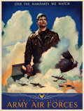 "Movie Posters:War, World War II Propaganda (U.S. Government Printing Office, 1944). Army Air Forces Poster (19"" X 24.75"") ""O'er the Ramparts We..."
