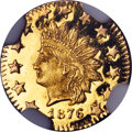 California Fractional Gold , 1876 50C Indian Round 50 Cents, BG-1065, R.5, MS67 Deep Mirror Prooflike NGC....