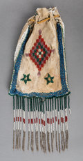 American Indian Art:Beadwork and Quillwork, An Apache Pictorial Beaded Hide Drawstring Pouch...