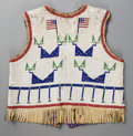 American Indian Art:Beadwork and Quillwork, A Sioux Pictorial Beaded Hide Vest...