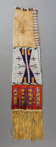 American Indian Art:Beadwork and Quillwork, A Sioux Pictorial Beaded Hide Tobacco Bag...