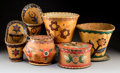 Other, Six Great Lakes Polychrome Birchbark Items... (Total: 6 Items)