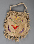 American Indian Art:Beadwork and Quillwork, A Sioux Quilled Hide Pouch...