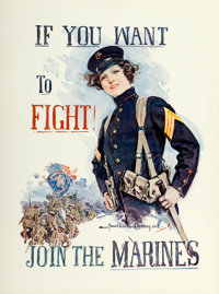 "World War I Propaganda (U.S. Marines, 1915). Howard Chandler Christy Recruitment Poster (30"" X 40.25"") ""I..."