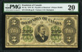 Canadian Currency, DC-9a $2 1.6.1878 PMG Very Fine 20.. ...