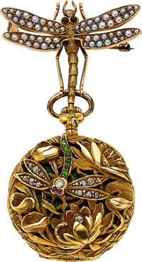 "Swiss Exceptional Gold, Enamel & Gemstone ""Dragonfly"" Art Nouveau Pendant Watch"