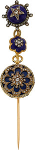 Timepieces:Pendant , Blondell et Melly Geneva Extremely Rare 16 mm Miniature Gold, Enamel & Diamond Watch With Pendant Pin & Key. ...