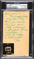 Baseball Collectibles:Others, 1953 Ty Cobb Handwritten & Signed Government Postcard....