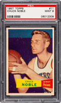 Basketball Cards:Singles (Pre-1970), 1957 Topps Chuck Noble #11 PSA Mint 9 - Pop Two, None Higher. ...