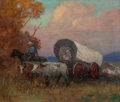 Fine Art - Painting, American, Nicholas Richard Brewer (American, 1857-1949). The Covered WagonSketch. Oil on board. 20 x 23-3/4 inches (50.8 x 60.3 c...
