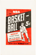 Basketball Cards:Unopened Packs/Display Boxes, Rare 1968 Topps Test Basketball Wrapper. ...