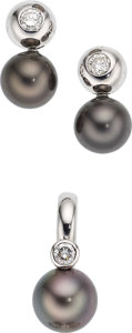 Estate Jewelry:Suites, Diamond, Black South Sea Cultured Pearl, White Gold Jewelry Suite. ... (Total: 2 Items)