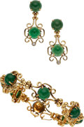 Estate Jewelry:Suites, Chrysoprase, Diamond, Gold Jewelry Suite. ... (Total: 2 Items)