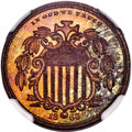 Patterns, 1866 5C Shield Five Cents, Judd-490, Pollock-578, Low R.7, PR64 Red and Brown NGC....
