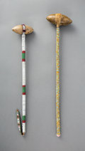 American Indian Art:Pipes, Tools, and Weapons, Two Plains Beaded Stonehead Clubs... (Total: 2 Items)