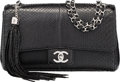 """Luxury Accessories:Bags, Chanel Black Python Medium Single Flap Bag with Silver Hardware. Condition: 2. 10"""" Width x 6"""" Height x 3"""" Depth. ..."""