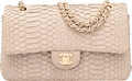 "Luxury Accessories:Bags, Chanel Beige Python Medium Double Flap Bag with Gold Hardware. Condition: 2. 10"" Width x 6"" Height x 3"" Depth. ..."