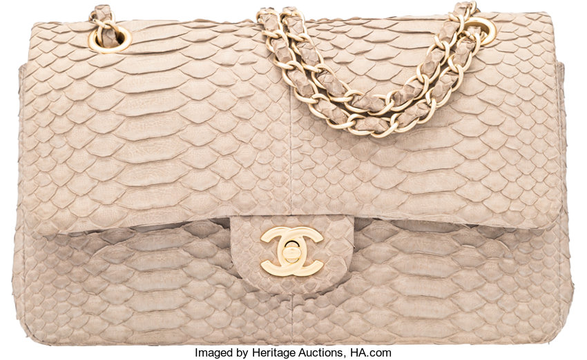44bff3ac817 Luxury Accessories:Bags, Chanel Beige Python Medium Double Flap Bag with  Gold Hardware.