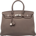 "Luxury Accessories:Bags, Hermès 35cm Taupe Clemence Leather Birkin Bag with Palladium Hardware. P Square, 2012. Condition: 2. 14"" Width x 1..."
