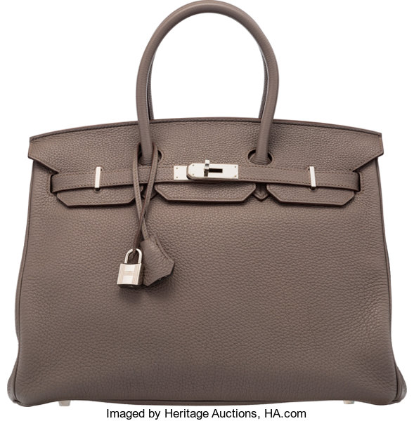 1b3f83dd1c Hermès 35cm Taupe Clemence Leather Birkin Bag with