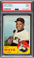 Baseball Cards:Singles (1960-1969), 1963 Topps Willie Mays #300 PSA Mint 9 - Only One Higher....