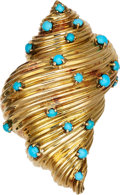 Estate Jewelry:Brooches - Pins, Turquoise, Gold Brooch, Tiffany & Co., circa 1950, French. ...