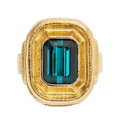 Estate Jewelry:Rings, Indicolite Tourmaline, Gold Ring. ...
