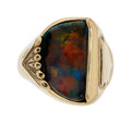 Estate Jewelry:Rings, Gentleman's Black Opal, Gold Ring . ...