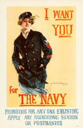 "Movie Posters:War, World War I Propaganda (U.S. Navy, 1917). Howard Chandler ChristyPoster (27"" X 41.5"") ""I Want You for the Navy."". ..."
