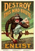 "Movie Posters:War, World War I Propaganda (U.S. Government, 1917). Recruitment Poster(27"" X 41.25"") ""Destroy This Mad Brute,"" Harry R. ..."
