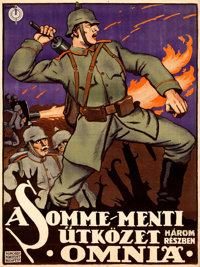 "Our Heroes on the Somme (Kinema R.T. Budapest, 1917). Hungarian Poster (36.75"" X 49"") Imre Foldes Artwork"