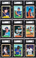 Baseball Cards:Lots, 1982 Fleer Test Card SGC-Authentic Collection (9). ...