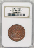 Patterns: , 1862 50C Half Dollar, Judd-294, Pollock-352, Low R.7, PR66 Red andBrown NGC. The obverse has the regular issue design for ...