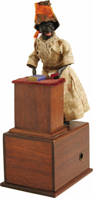 """Extremely Rare Ives Sojourner Truth Mechanical Clockwork Toy, 4"""" x 11"""" x 5"""", E. R. Ives & Co., Br..."""