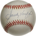 Autographs:Baseballs, Sandy Koufax Single Signed Baseball. A bold blue signature from the Hall of Fame lefty graces the sweet spot of this pristi...